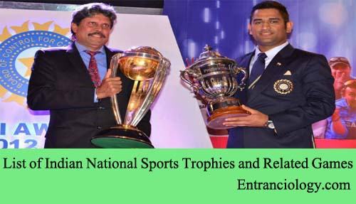 List of Indian National Sports Trophies and Related Games entranciology