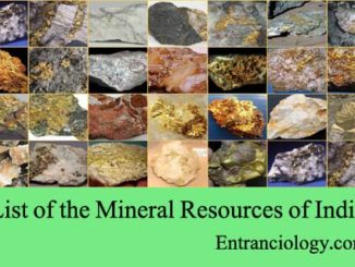 List of the Mineral Resources of India entranciology