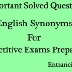 English Synonyms Solved Questions and Answers (MCQ) Set 3