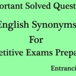 English Synonyms Solved Questions and Answers (MCQ) Set 5