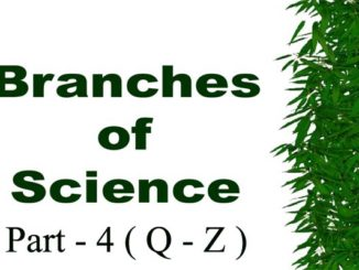 Branches of Science with Definition in Alphabetical Order Part - 4 Q to z Entranciology